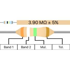 Resistenza Carbon Film 1/4W 5% - 3.9M Ohm